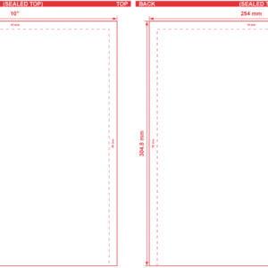 10x12 Open End Flat Pouch Dieline