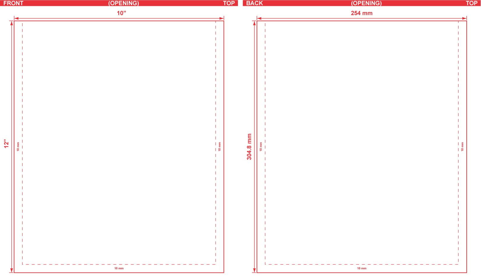 10x12 Flat Pouch Dieline