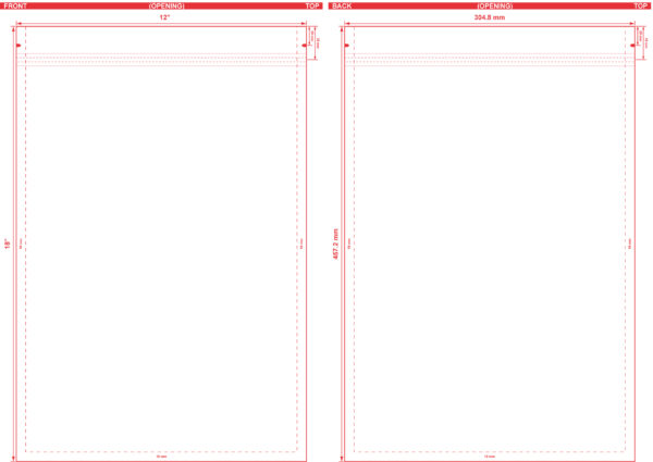 12x18 Flat Pouch Dieline