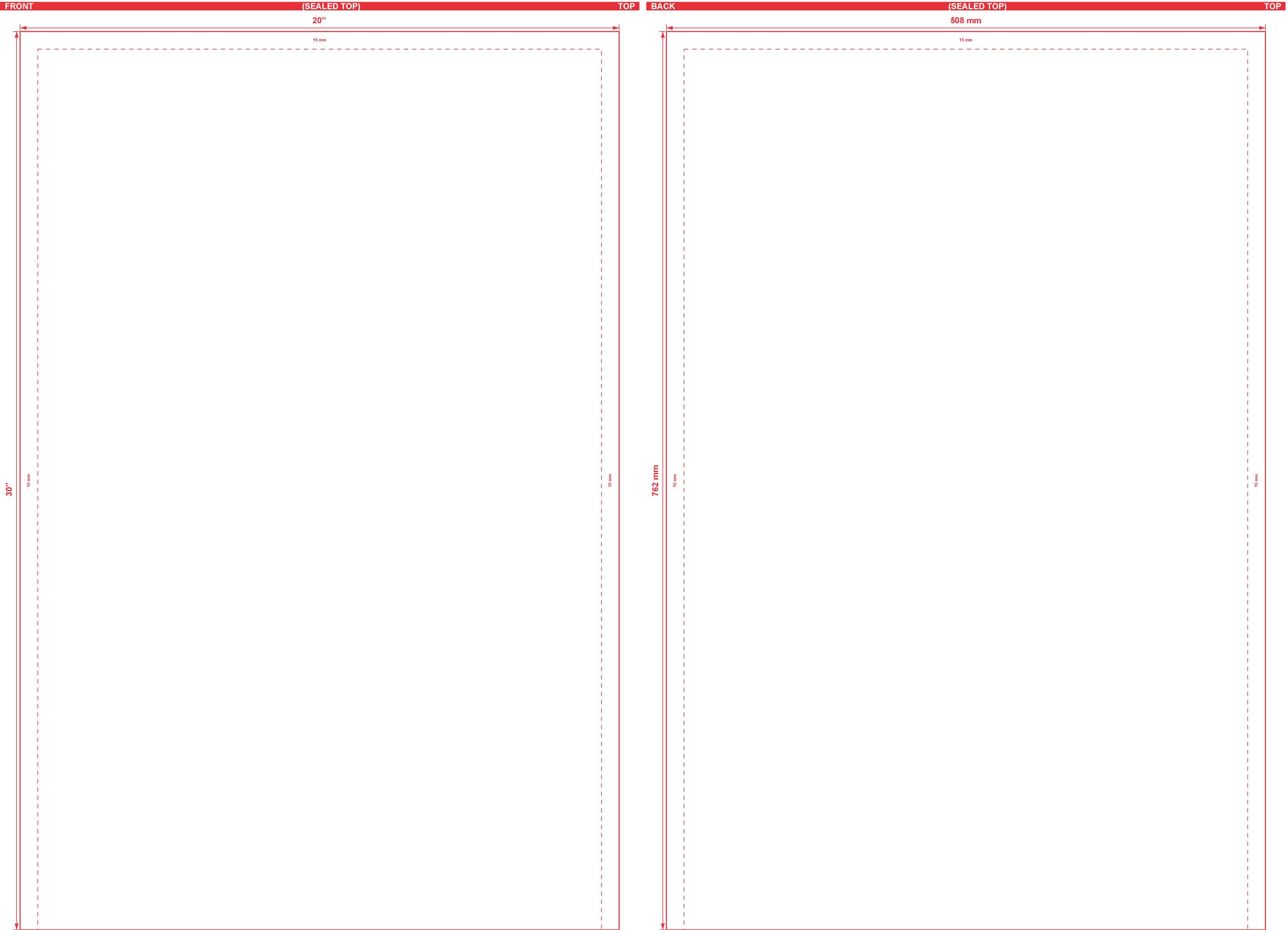 20x30 Open End Flat Pouch Dieline