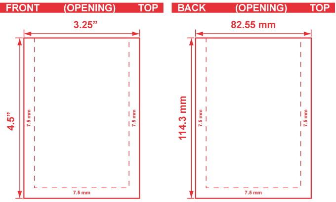 3.25x4.5 Flat Pouch Dieline