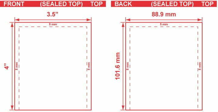 3.5x4 Open End Flat Pouch Dieline