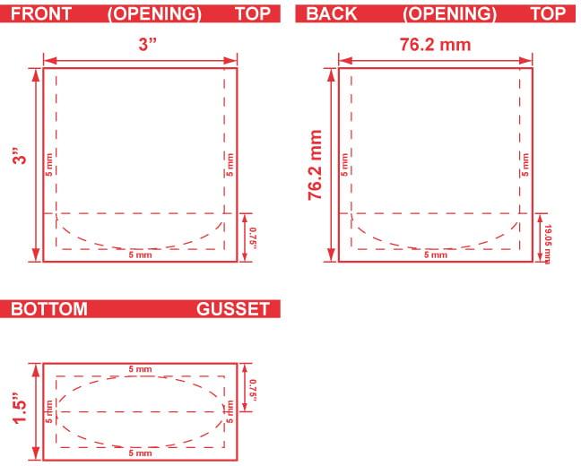 3x3x1.5 Stand Up Pouch Dieline