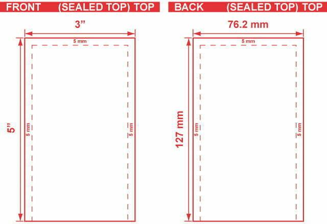 3x5 - Open End Flat Pouch Dieline