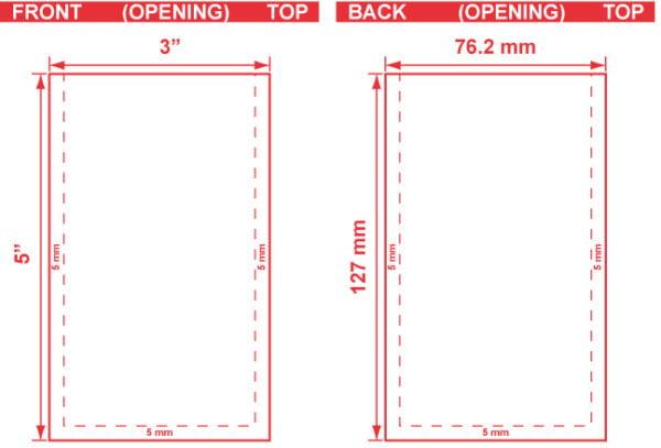 3x5 3 Seal Flat Pouch Dieline