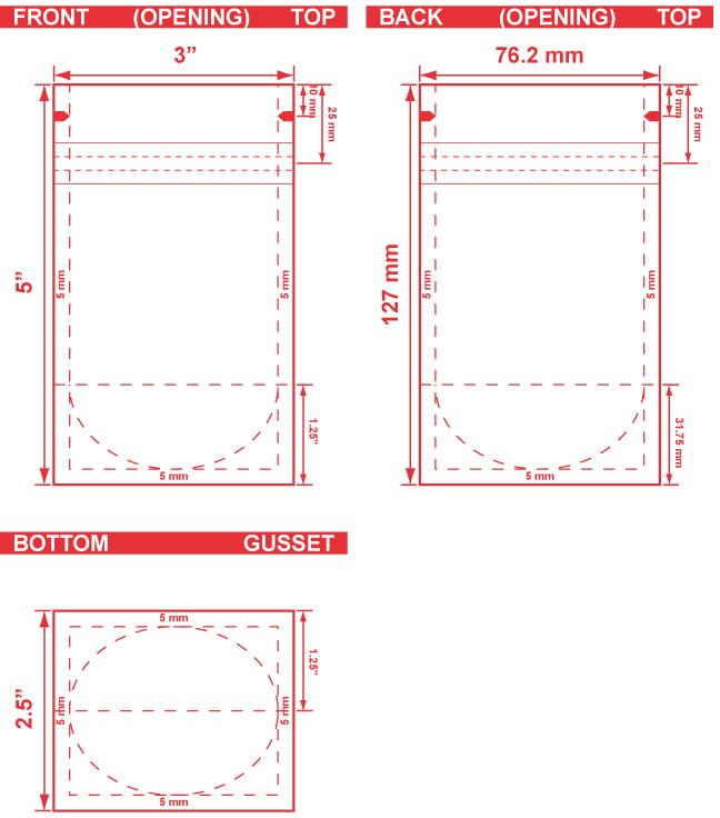 3x5x2.5 Stand Up Pouch Dieline