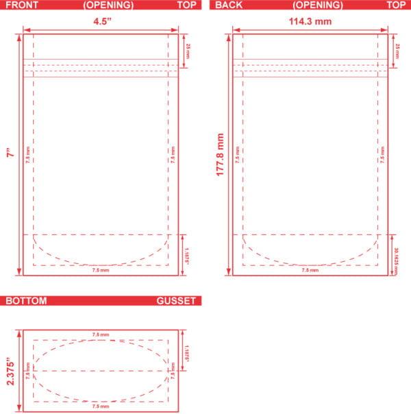 4.5x7x2.375 Stand Up Pouch Dieline