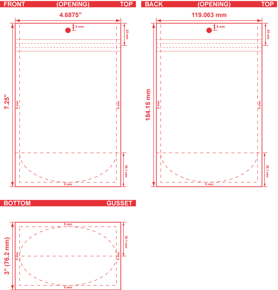 4.6875x7.25x3 Clearbags Stand Up Pouch Dieline
