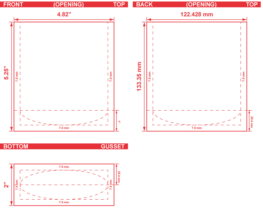 4.82x5.25x2 Stand Up Pouch Dieline