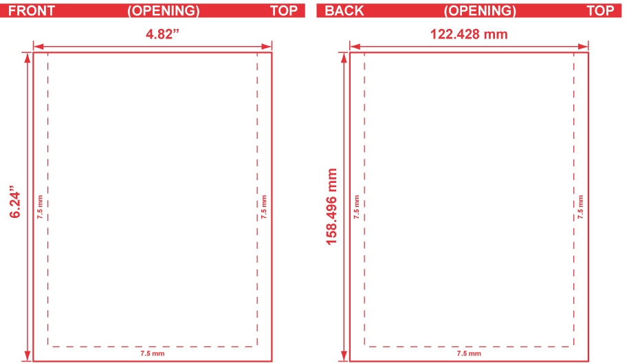 4.82x6.24 Flat Pouch Dieline