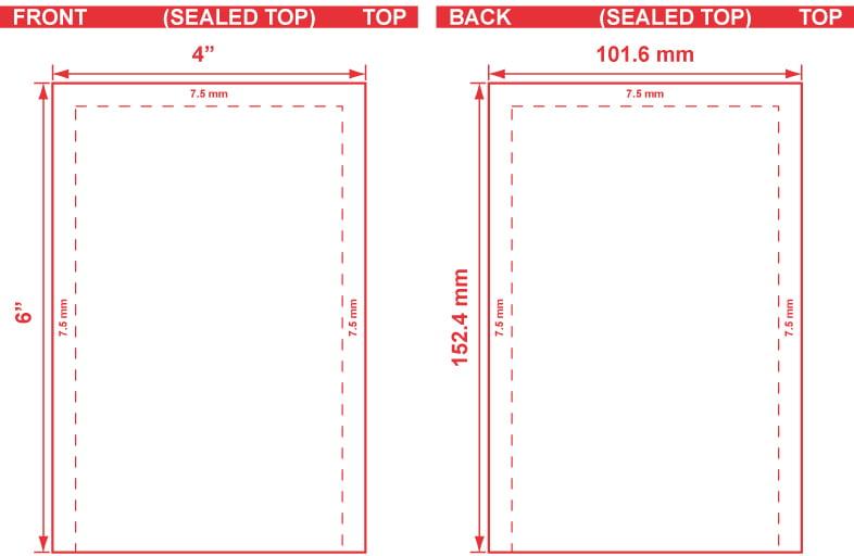 4x6 Open End Flat Pouch Dieline