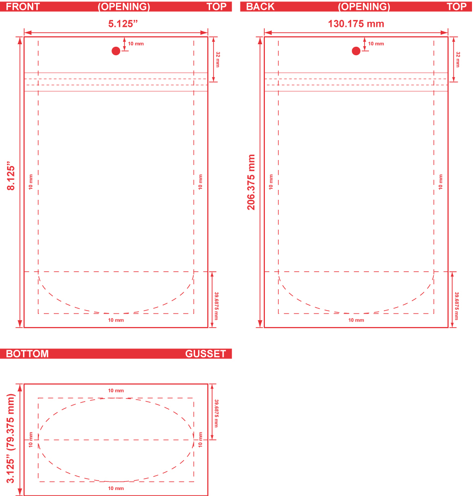 5.125x8.125x3.125 Clearbags Stand Up Pouch Dieline