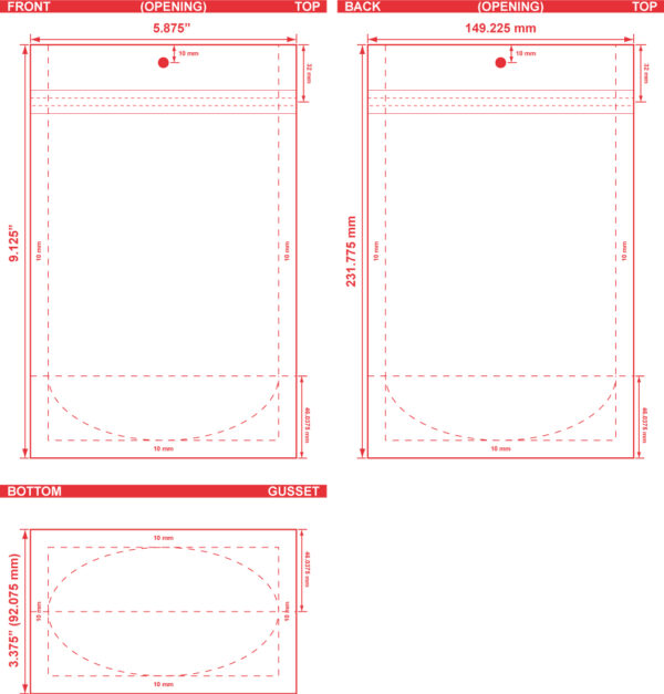 5.875x9.125x3.375 Clearbags Stand Up Pouch Dieline