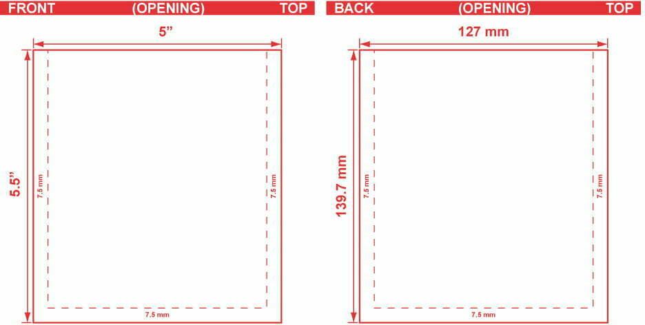 5x5.5 Flat Pouch Dieline