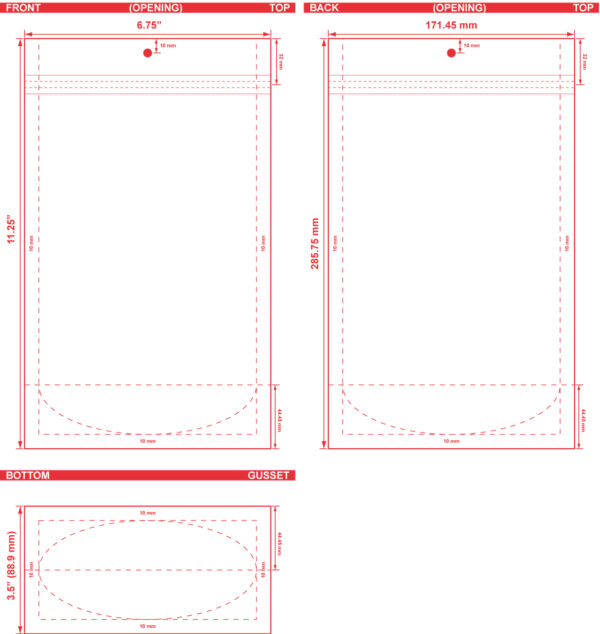 6.75x11.25x3.5 Clearbags Stand Up Pouch Dieline