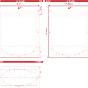 6.75x8.5x3.5 Stand Up Pouch Dieline