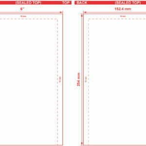 6x10 Open End Flat Pouch Dieline