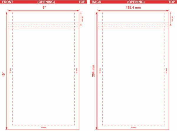 6x10 Flat Pouch Dieline