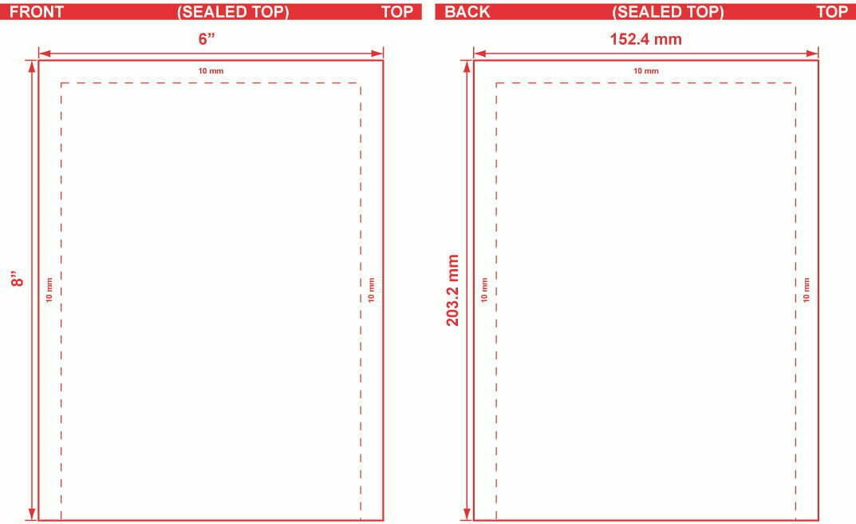 6x8 Open End Flat Pouch Dieline