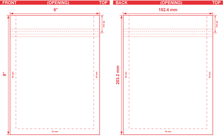 6x8 Flat Pouch Dieline