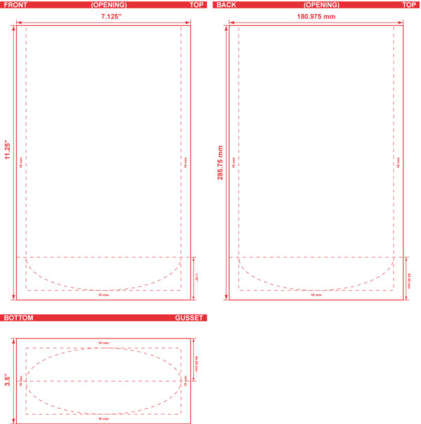 7.125x11.25x3.5 Stand Up Pouch