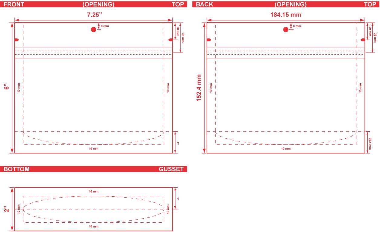 7.25x6x2 Stand Up Pouch Dieline