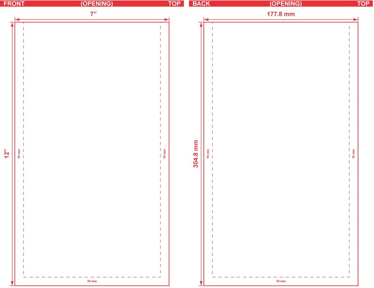7x12 Flat Pouch Dieline