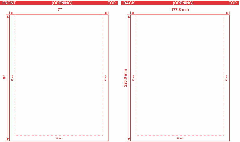 7x9 Flat Pouch Dieline