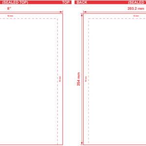 8x10 Open End Flat Pouch Dieline