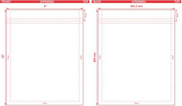 8x10 Flat Pouch Dieline