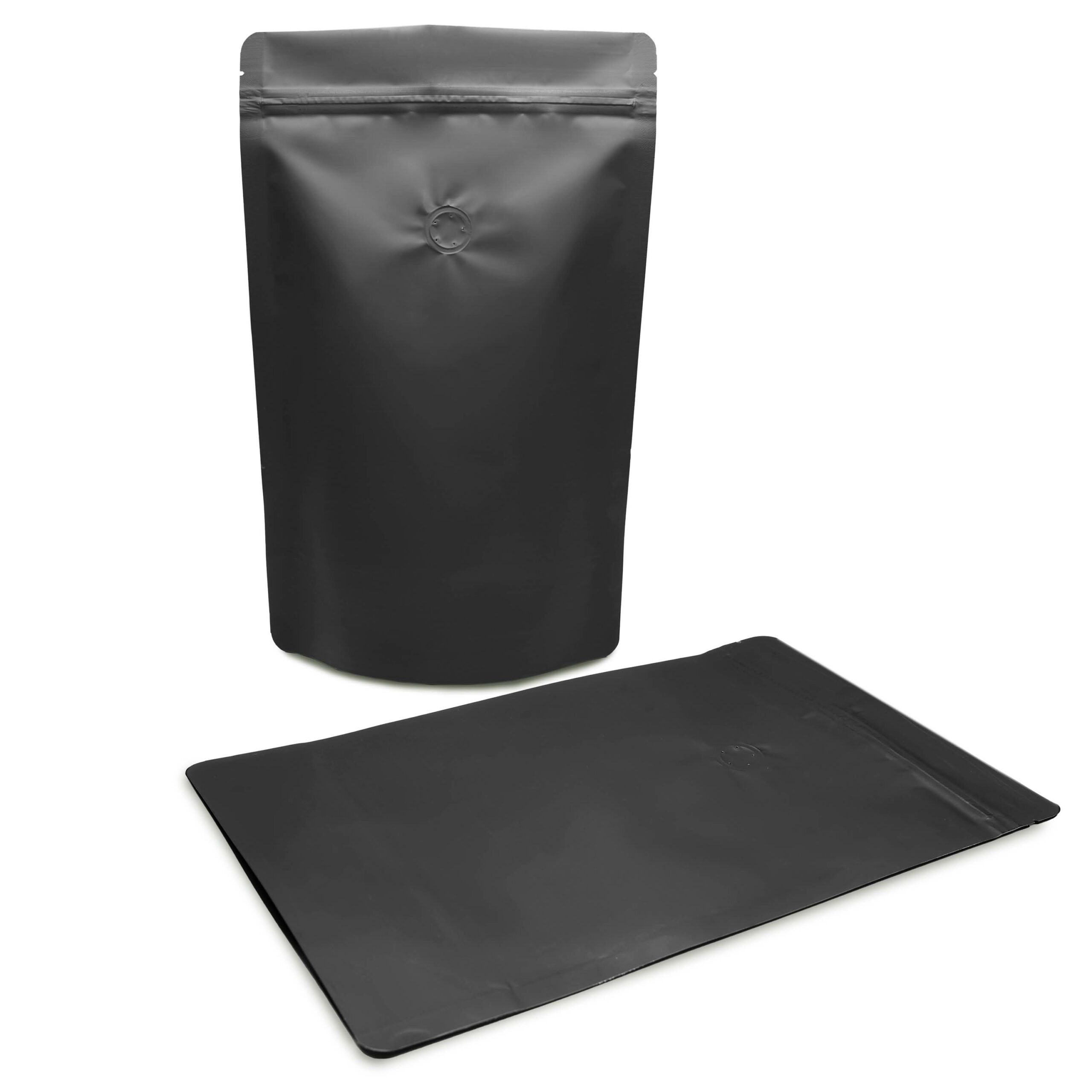 Matte Black Stand Up Pouch with Valve for Coffee